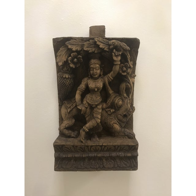 Mid 19th Century Carved Wooden Icon of Vishnu Goddess For Sale - Image 5 of 12