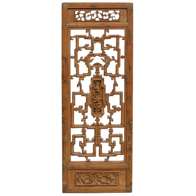 Chinese Vintage Light Brown Relief Motif Wood Wall Hanging Art For Sale - Image 4 of 9