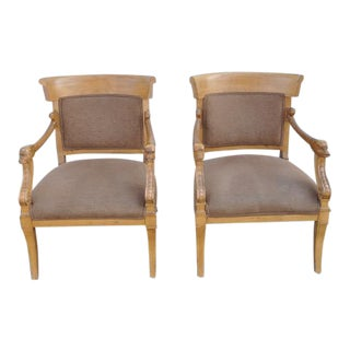 Trouvailles Hand-Carved Occasional Chairs - A Pair