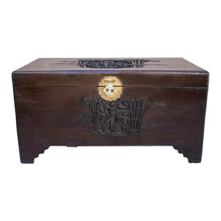 Antique Asian Carved Wood Trunk For Sale