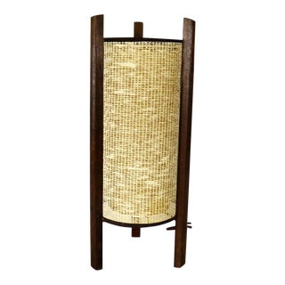 Mid Century Modern Tri Leg Woven Cylinder Table Lamp After Noguchi or Modeline For Sale