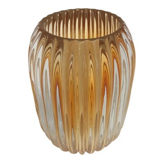 French Glass Ribbed Votive For Sale