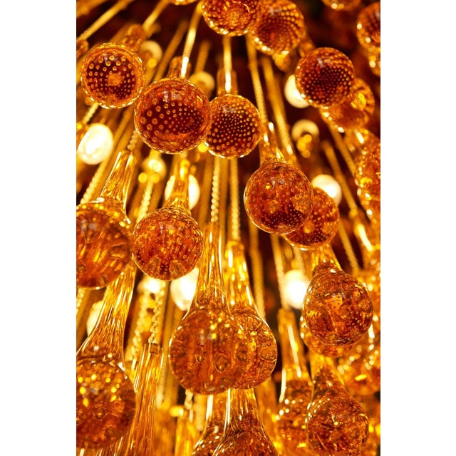 2000 - 2009 Monumental Brass and Murano Glass Tear Drop Flush Mount Attr. To Barovier & Toso For Sale - Image 5 of 13