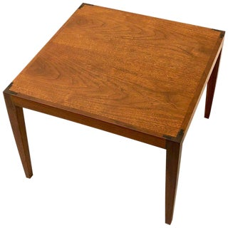1960s Danish Modern Teak Petite Cocktail Table With Rosewood Bow Tie Detail For Sale