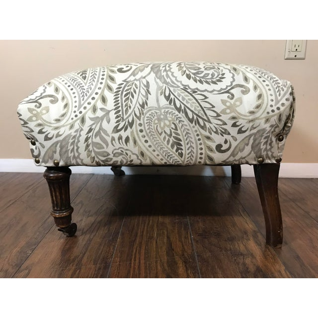1920s Reupholstered Antique Tan Ottoman For Sale - Image 5 of 6