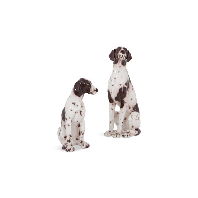 Italian hand painted and glazed ceramic pointer dog sculptures from the 1970s. Gorgeous set of decorative animal...