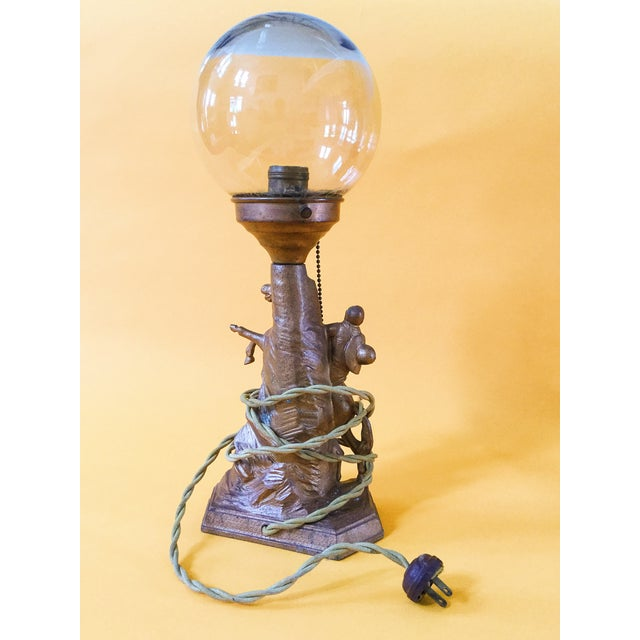 Cowboy Rodeo Bronze Lamp with Glass Globe - Image 3 of 4