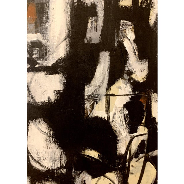Franz Kline Original Abstract Mid-Century Inspired Framed Painting For Sale - Image 4 of 4