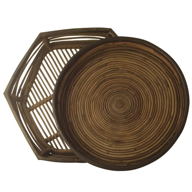 Rattan Brass-Edged Serving Trays - A Pair - Image 1 of 10