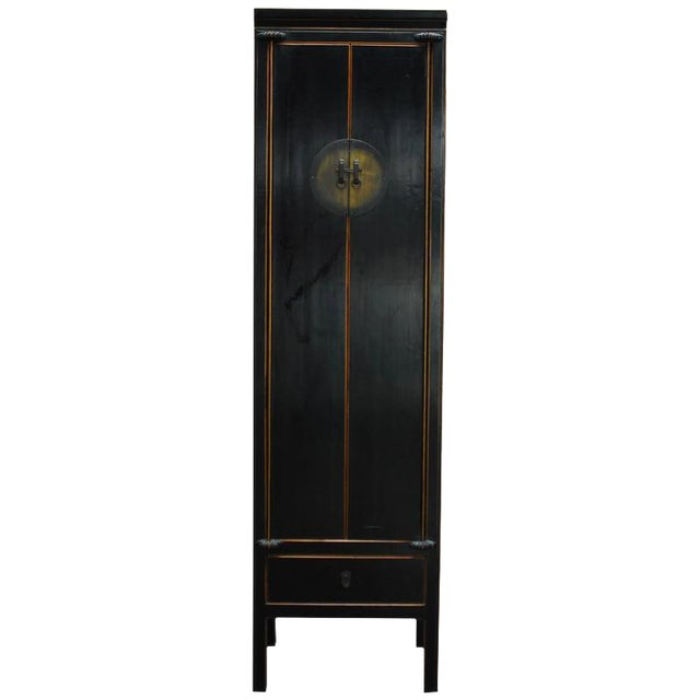Chinese Tall Black Lacquer Cabinet For Sale