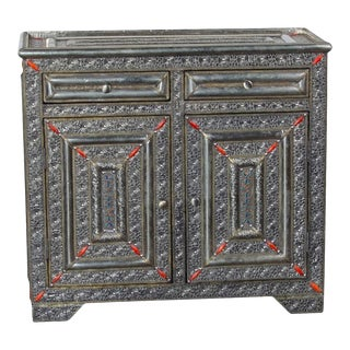 Moroccan 2-Drawer 2-Door Silver Cabinet For Sale