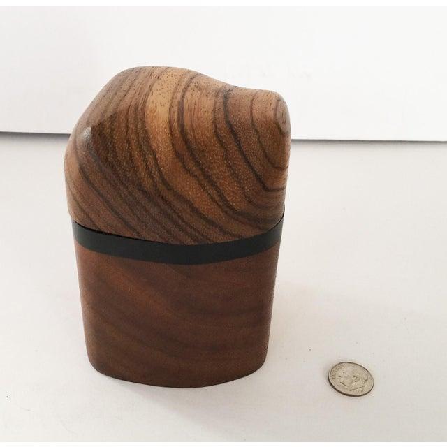 Artisan Walnut Ebony and Zebra Wooden Covered Box - Image 8 of 8