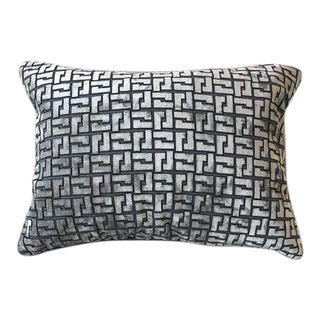 Contemporary Holly Hunt Cut Silver and Grey Velvet Lumbar Pillow