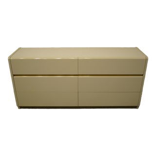 Lane Furniture Contemporary Cream/Off White Lacquered Double Dresser For Sale