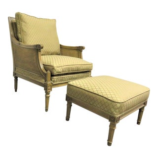 Louis XVI Style Chair & Ottoman - 2 Pieces For Sale