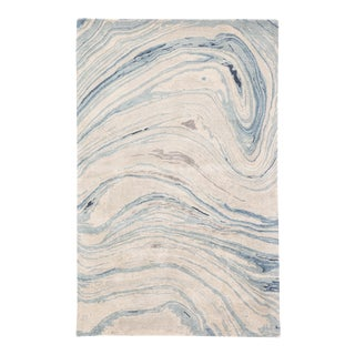 Jaipur Living Atha Handmade Abstract Blue/ Gray Area Rug - 5'x8' For Sale
