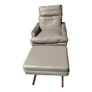 Vintage Mid Century Modern Frederick Kayser Chair & Ottoman For Sale