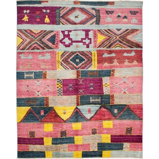 """Colorful Pink Hand-Knotted Rug-9'6"""" X 11'11"""" For Sale"""