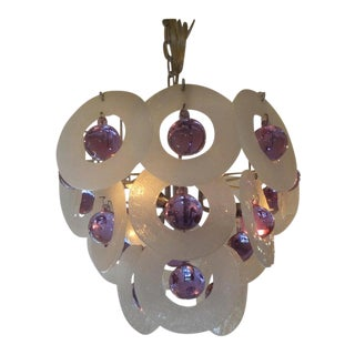 Vintage Venini Style Murano Glass Chandelier For Sale