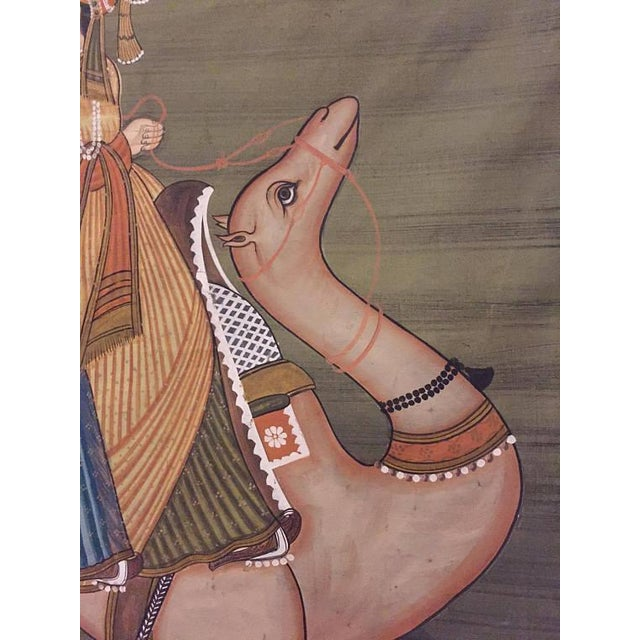 """1970s Mid Century Modern India Silk Painting Camel Ride - 45"""" For Sale - Image 5 of 11"""