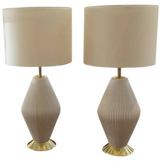 Gerald Thurston for Lightolier Porcelain Lamps, 1950s - a Pair For Sale
