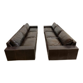 Custom Leather Three on Three Sofa- a Pair For Sale