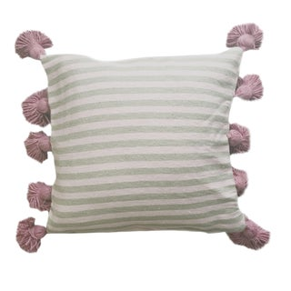 Taupe & Pink Pompom Pillow Cover For Sale