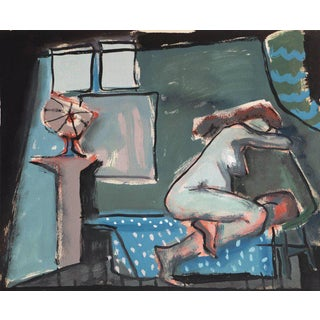 'In a Blue Room' by Jerry Opper, California Modernist Figural, Chouinard Institute For Sale