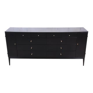 1950s Paul McCobb Planner Group Black Lacquered 20-Drawer Dresser For Sale