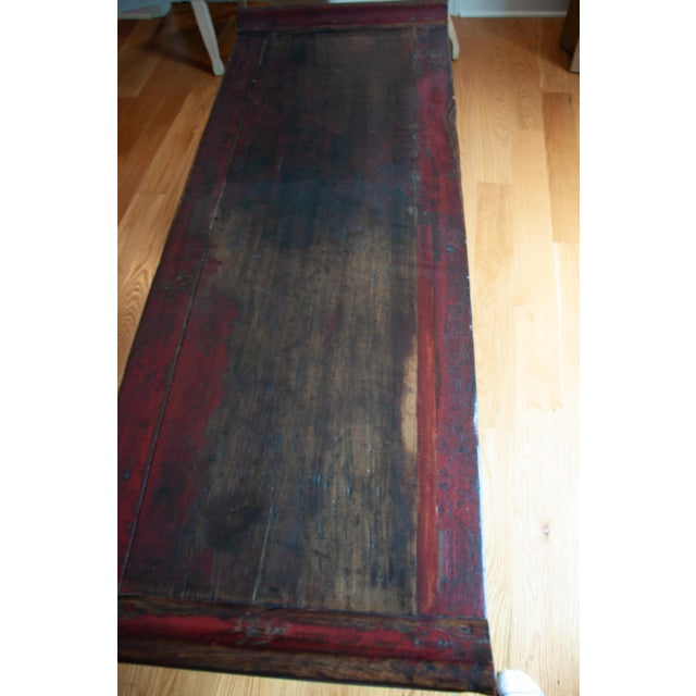 Chinese Red Altar Console Table For Sale - Image 11 of 13