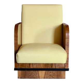 1920s Art Deco Club Chair in Walnut Veneer For Sale
