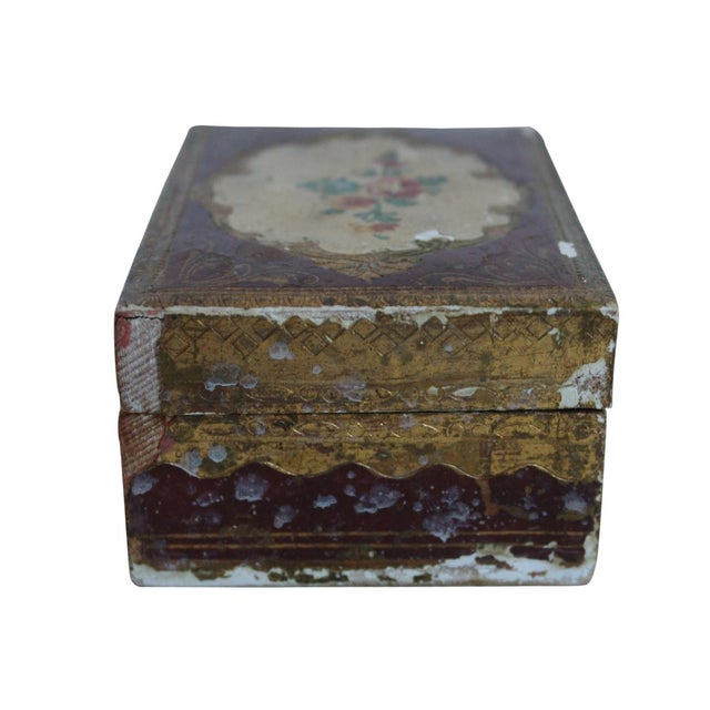 Small wood box from Italy featuring a hand-painted rose detail and gold accents.