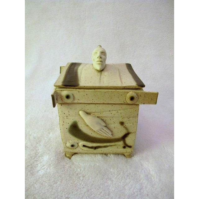 Tan Kostas Ulevicius Tribal Spiritual Sculptural Face Pottery Box W/Lid For Sale - Image 8 of 10