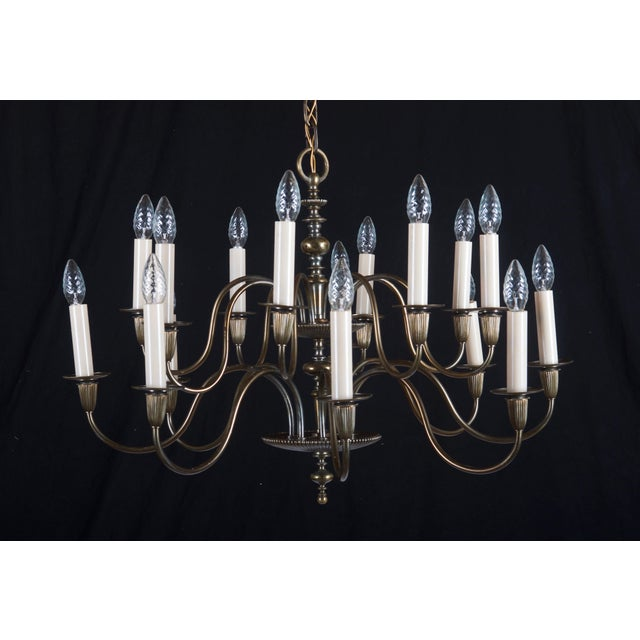 Gold Vintage Large Brass Sixteen-Arms Chandelier For Sale - Image 8 of 11
