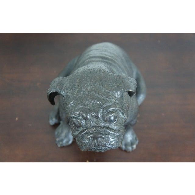 2010s Theodore Alexander Seated British Bulldog Pug Dog Bronze Sculpture For Sale - Image 5 of 11