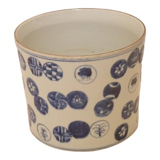 Japanese Porcelain Hand Painted Cachepot For Sale