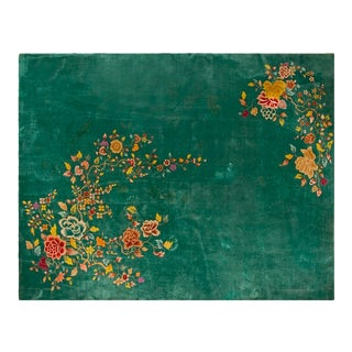 """1920s Chinese Green Art Deco Rug - 8'10""""x11'3"""" For Sale"""