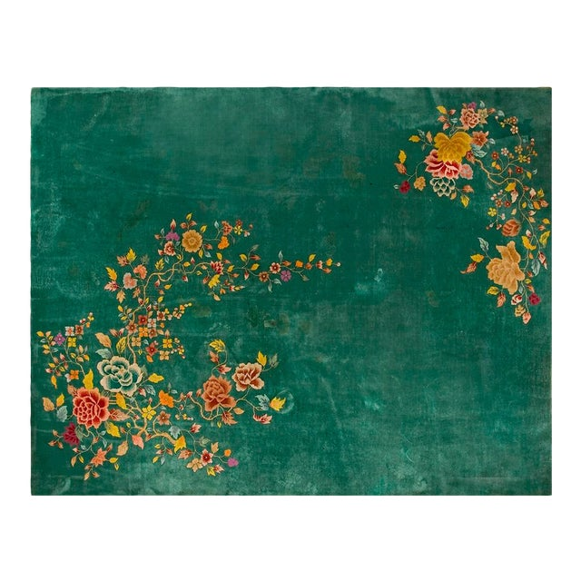 "1920s Chinese Green Art Deco Rug - 8'10""x11'3"" For Sale"
