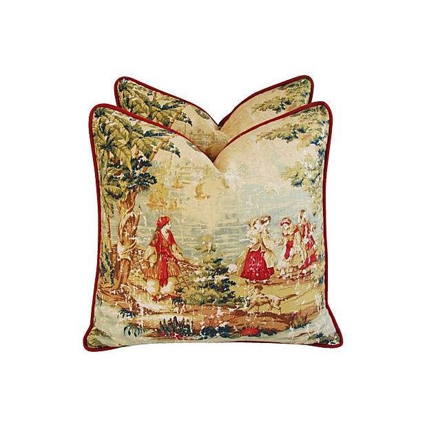 Designer Renaissance Toile Linen Pillows - A Pair - Image 5 of 8
