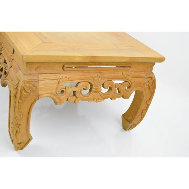 Carved, Stripped Wood Asian Low Tables - a Pair - Image 7 of 7