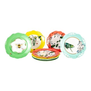 Bumblebee, Hummingbirds, Insects and Frog Decorative Wall Hanging Plates - Set of 8 For Sale
