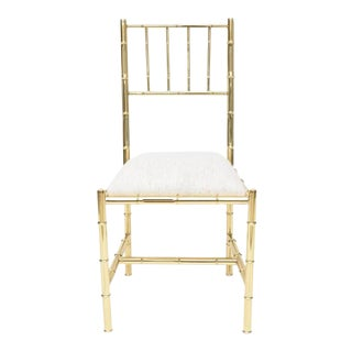 Italian Faux Bamboo Chair in Polished Brass For Sale