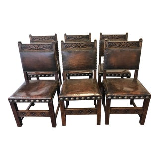 Early 20th Century Vintage Leather Chairs- Set of 6 For Sale