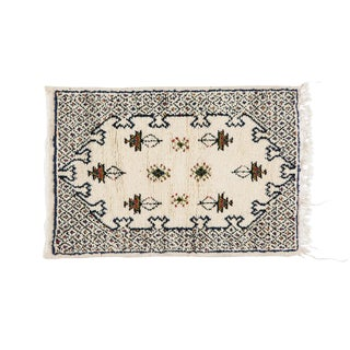 Berber Small Rug - Handwoven Wool With Organic White Dye For Sale