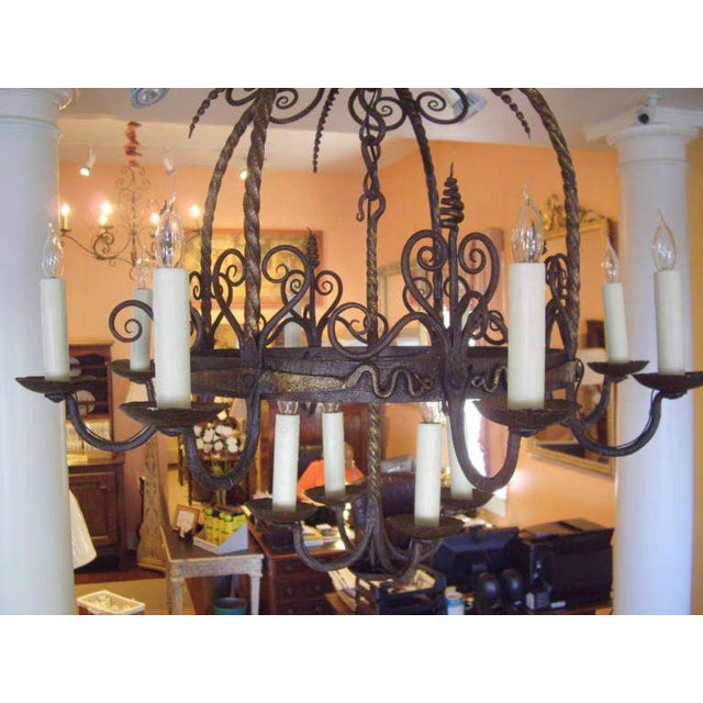 Late 19th Century Unusual Provincial Wrought Iron 12-Light Chandelier For Sale - Image 5 of 9