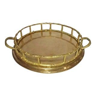 20th Century Chinoiserie Brass Bamboo Round Tray / Wine Coaster