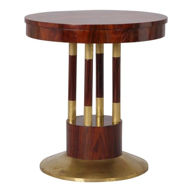 Round Jugendstil Rosewood and Brass Pedestal Table For Sale
