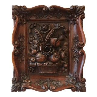 Austrian Hand-Carved Walnut Framed Floral Plaque For Sale