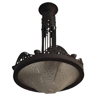 French Art Deco Chandelier With Floral Motif For Sale