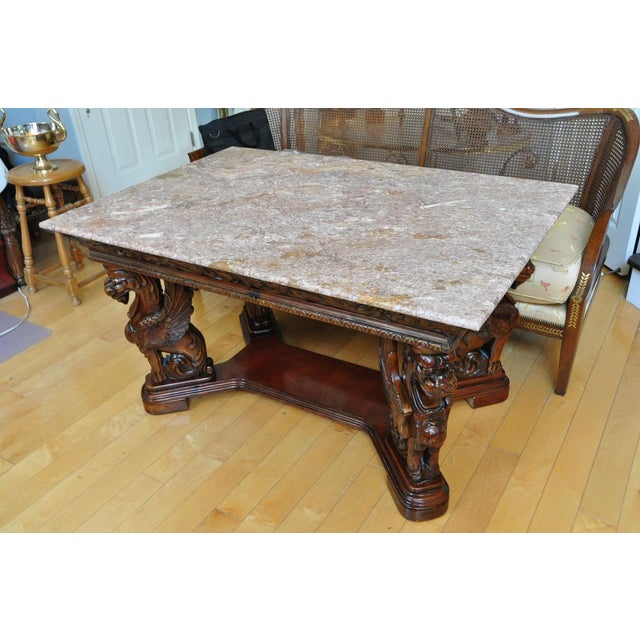 Figurative Vintage Renaissance Style Wood Carved Winged Griffin Table and Pink Granite Top For Sale - Image 3 of 13